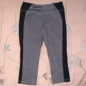 Pants - Black and Gray Capri Workout Pants